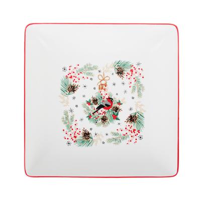 820-136 MILLIMI Снегирь Блюдо квадратное, 18х18х4,5см, керамика