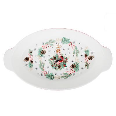820-141 MILLIMI Снегирь Форма для запек. и салатов овальн. с ручк., 1500мл, 35,5х20х6см, керамика