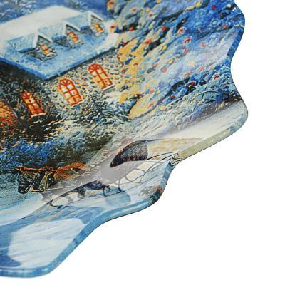 820-145 Зимний пейзаж Блюдо круглое 20х2см, стекло