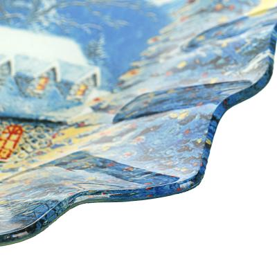 820-146 Зимний пейзаж Блюдо круглое 25х2см, стекло