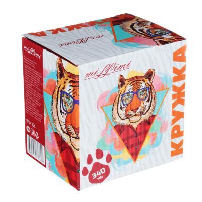 820-156 MILLIMI Тигр стайл Кружка 340мл, 4 дизайна, керамика, подарочная упаковка