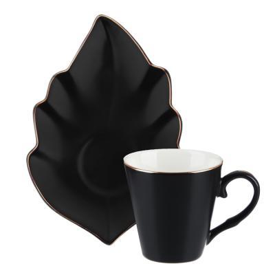 802-092 MILLIMI Лист блэк Набор кофейный 12пр., 80мл, 14,5х10см, костяной фарфор