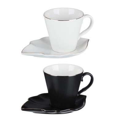 802-094 MILLIMI Лист блэк&вайт Набор чайный 2 пр., 220мл, 16x11,5см, костяной фарфор, 2 цвета
