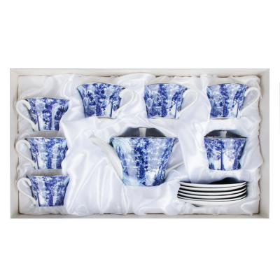 802-116 MILLIMI Дивный лес Набор чайный 14 пр., чашка 270мл, 16см, чайник 650мл, сахарница 230мл, кост. фрф