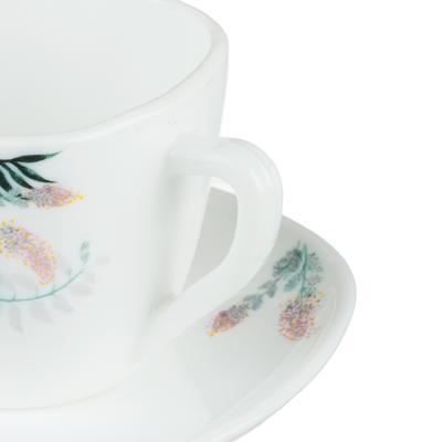 818-280 MILLIMI Тропикана Чайная пара (чашка 220мл., блюдце 14 см) опаловое стекло, 20048